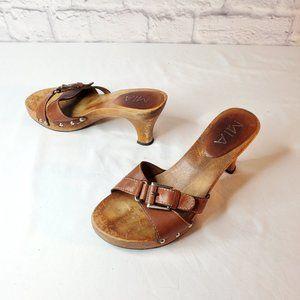 Mia womens heels, wood sole, brown leather